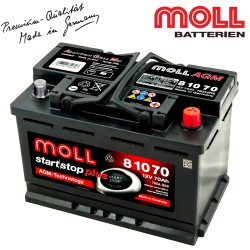 Baterie auto MOLL START-STOP PLUS AGM 70Ah 81070